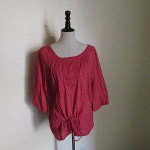 Old Navy Red Tie Waist Blouse